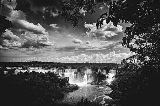 Iguazu Falls, Waterfalls, Landscape, River, Trees, Sky