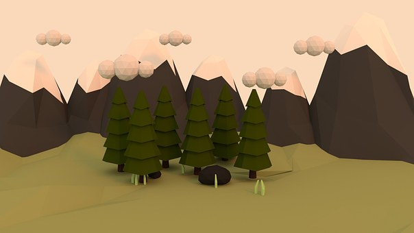 Low Poly, Forest, Abstract, 3d, Nountains