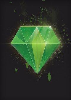 Icon, Diamond, Green, Vector, Background, Treasure