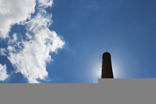 Chimney, The Sky, Sun, The Clouds, Blue