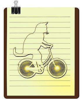 Cat, Kitten, Cat Bicycle, Bicyclist, Pet, Cat Line Art
