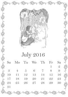 July, 2016, Calendar, Summer, Girl, Child, Rabbit