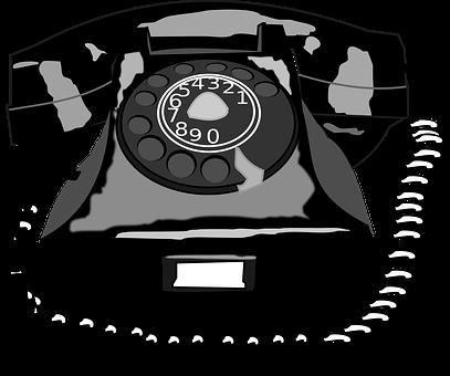 Black, Cartoon, Rotary, Telephone