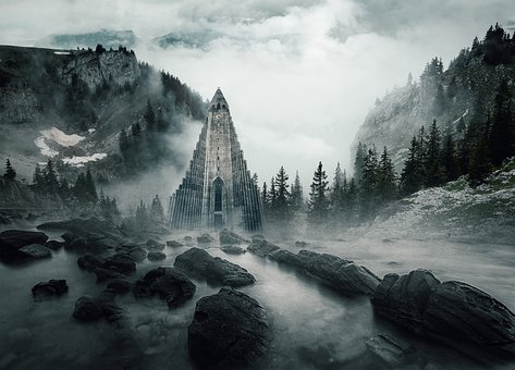 Tower, Mountains, Trees, Sky, Clouds, Mist, Light