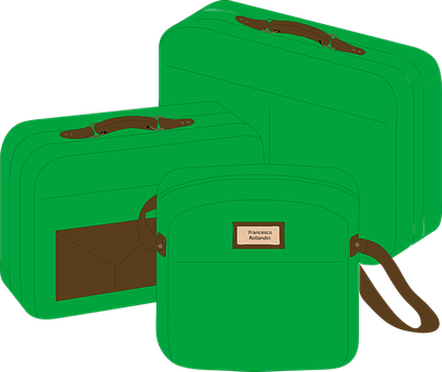 Suitcases, Bags, Green, Travel, Tourist