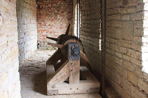 Mechanism, Drum, Winch, Lift, Gate, Fortress