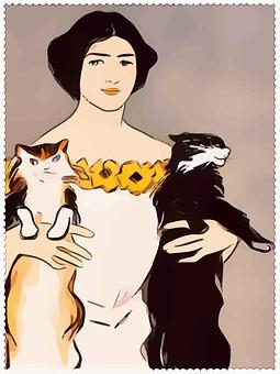 Lady, Woman, Harpers, Portrait, Cats, Cat Lady, Pretty