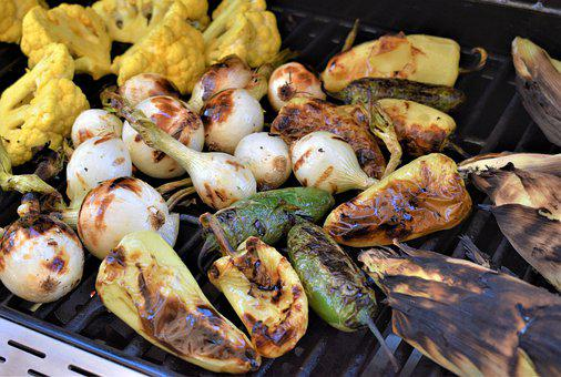Grilled Vegetables, Barbeque, Onion, Cauliflower, Corn