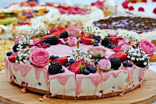 Wedding Cake, Fruits, Delicious, Cream