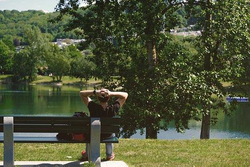 Person, Man, Bank, Lake, Landscape