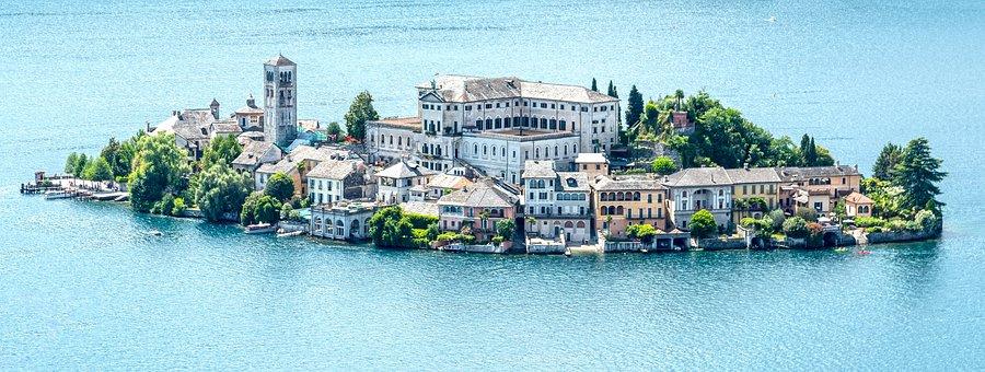 Island, San Giulio, Orta, Water, Tourism, Landscape