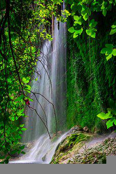 Waterfall, Rocks, Trees, Forest, Woods, Nature