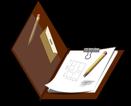 Draft, Clipboard, Sketch, Board, Brown, Clip, Pencil