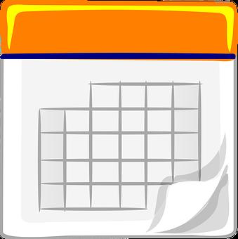 Calendar, Blank, Orange, Grid, Month, Office
