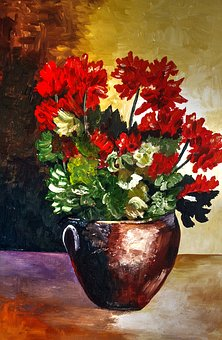 Painted Pot With Flowers, Bright, Acrylic Paint