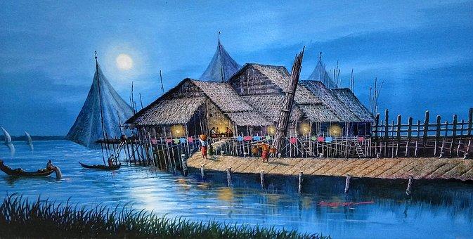 Art, Painting, Fishing, Village, Night, Scene, Boats