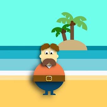 Vector Illustration, Flat Design, Island, Man, Tropical