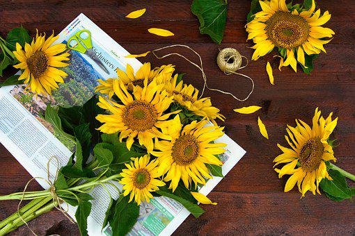 Sunflower, Bouquet, Flowers, Decoration, Plant, Yellow
