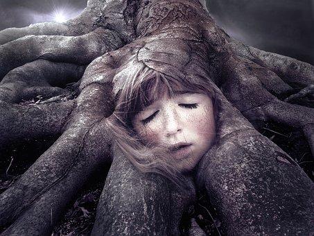 Root, Face, Fantasy, Mystical, Magic, Dark, Weird