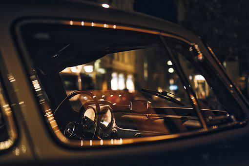 Porsche, Antique, Retro, Auto, Night, Valve, Mirroring