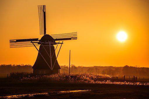 Mill, Sunset, Sun, Heaven, Landscape