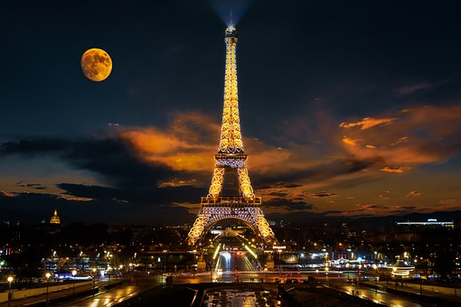 Tower, Eiffel, Paris, Moon, Famous, Attraction