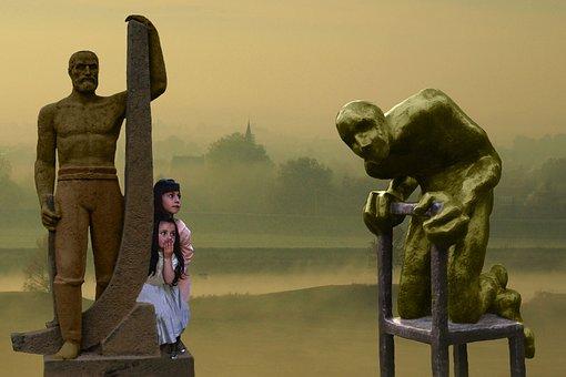 Stranger, Curious, Child, Sculpture, Atmosphere, Size