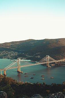 Bridge, Sunset, Mountain, California