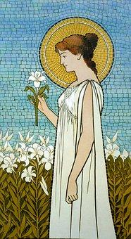 Woman, Girl, Lady, Art Deco, Mosaic, Tiles, Flowers