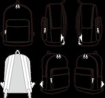 Backpack, Bag, Travel, Backpack Fashion Sketch