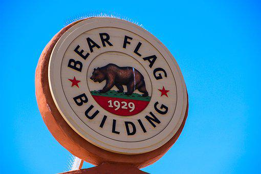 Bear Flag, California, Bear, Sign, Flag, Usa, America