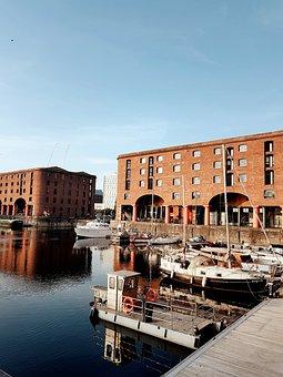 Liverpool, Albert Dock, Boats, Water, Building, Port