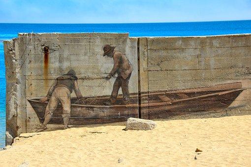 Mural, Boat, Beach, Art, Monterey, California, Water