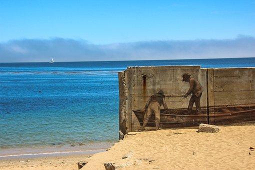 Mural, Boat, Beach, Art, Monterey