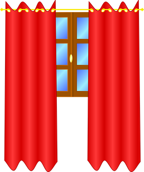 Curtains, Window, Red, Drapes, Interior