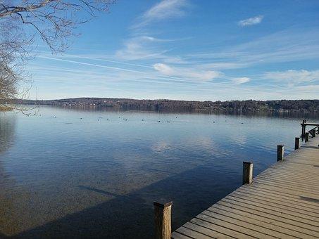 Starnberg, Lake, Landscape, Water, Tree, Germany