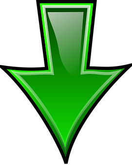 Arrow, Download, Down, South, Green