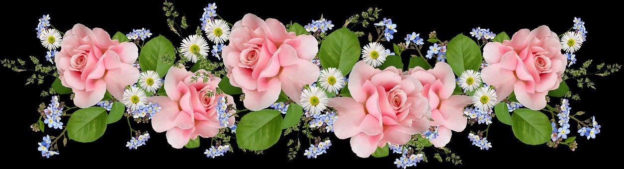 Flowers, Pink, Roses, Daisies, Arrangement, Garden