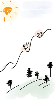Mountain, Hills, Rabbit, Cat, Animals, Bunny, Trees