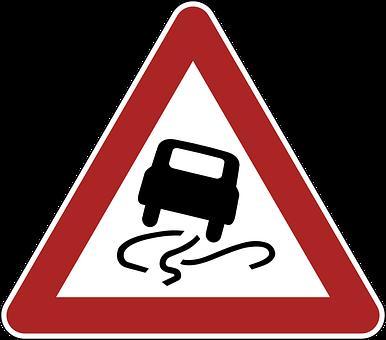 Slippery, Danger, Warning, Road Sign