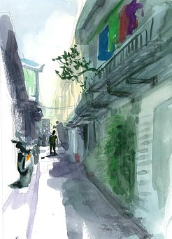 Watercolor, Sketch, Street