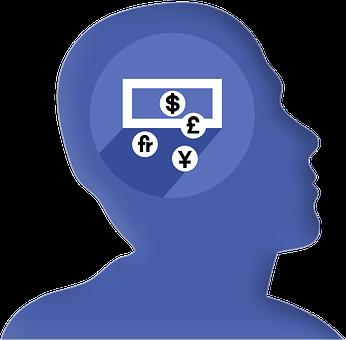 Icon, Head, Profile, Money, Dollar, Euro, Pound, Yen