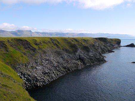 Iceland, Basalt Columns, Sea, Cliff
