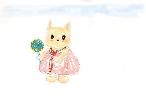 Hand-painted, Kitty, Animal, Kitten Candy
