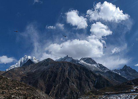 Himalaya, Nepal, Helicopter, Rescue