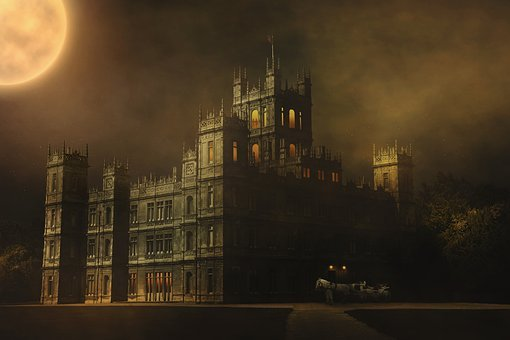 Downton Abbey, Night, Fog, Moon, Star