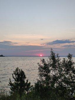 Sunset, Red, Sky, Orange, Nature, Lake