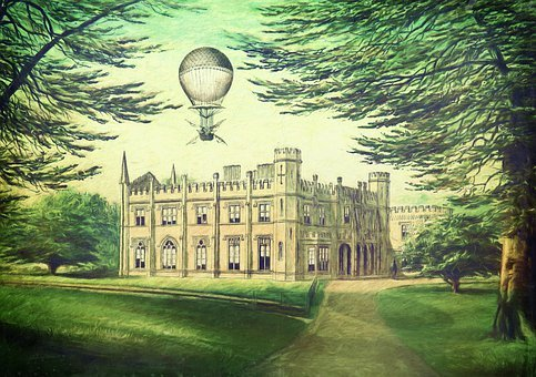 Park, Castle, Hot Air Balloon, Trees, Away, Castle Park
