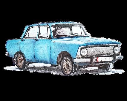 Watercolor, Car, Vehicle, Retro, Watercolour, Vintage