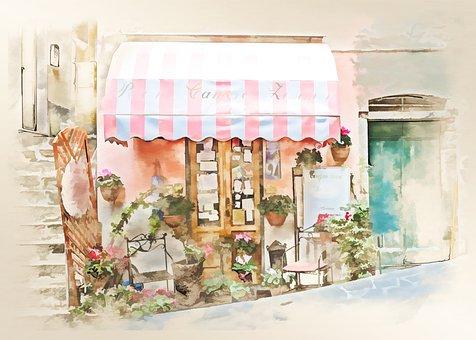 Watercolor, Shop, Store, Architecture, Vintage, Street